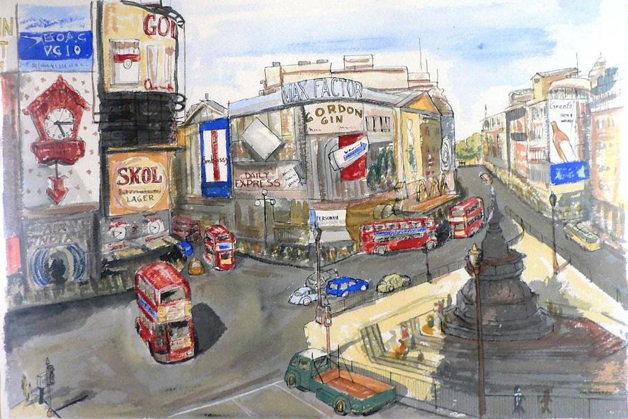 Street Scene Painting - Picadilly Circus by Dan Bozich