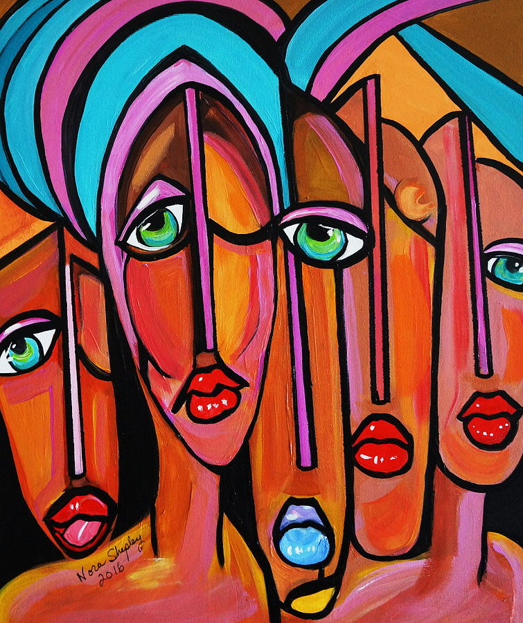 Acrylic Paint Painting - Picasso By Nora  Four Eyes by Nora Shepley