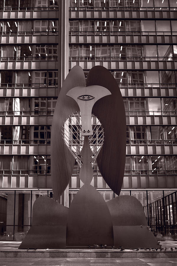 Picasso Photograph - Picasso Chicago Bw by Steve Gadomski
