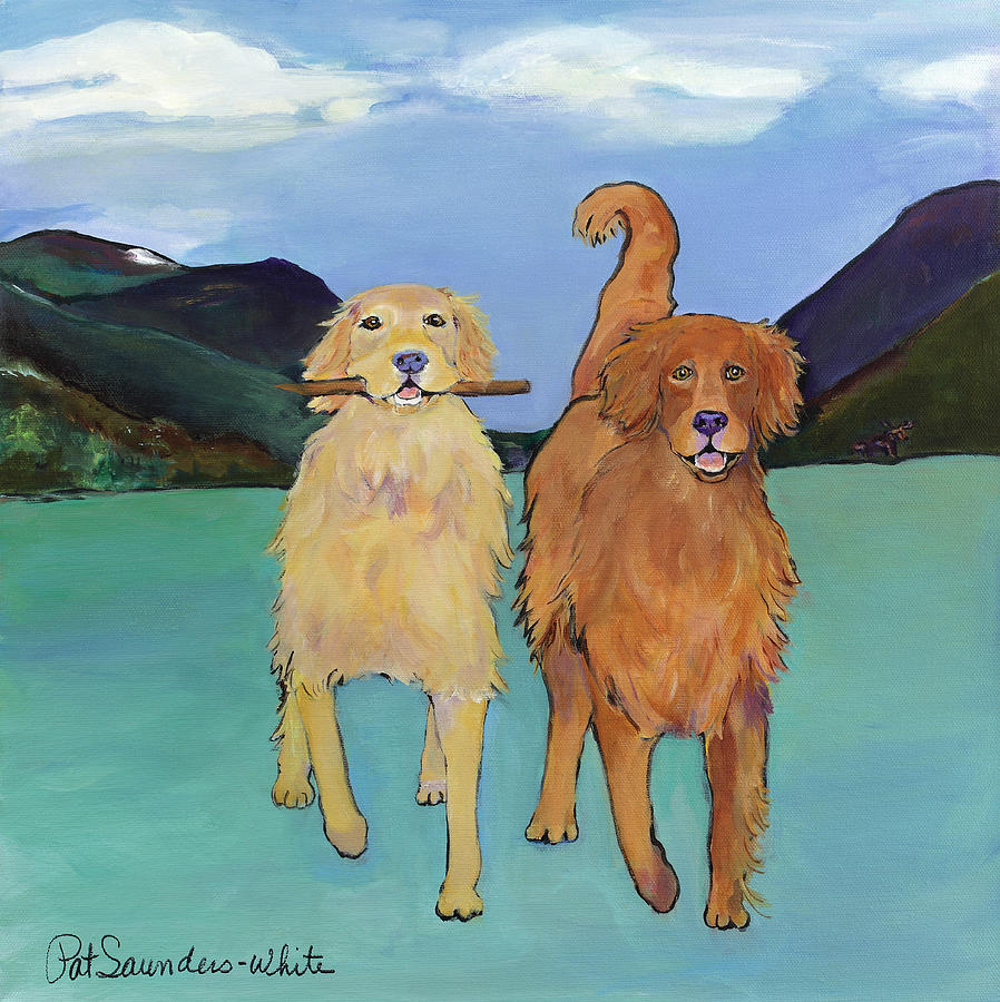 Golden Retrievers Painting - Pick-Up Sticks by Pat Saunders-White