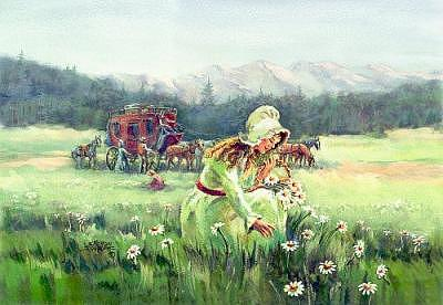 Bonnet Digital Art - Picking Daisies By The Stagecoach by Sharon Sharpe