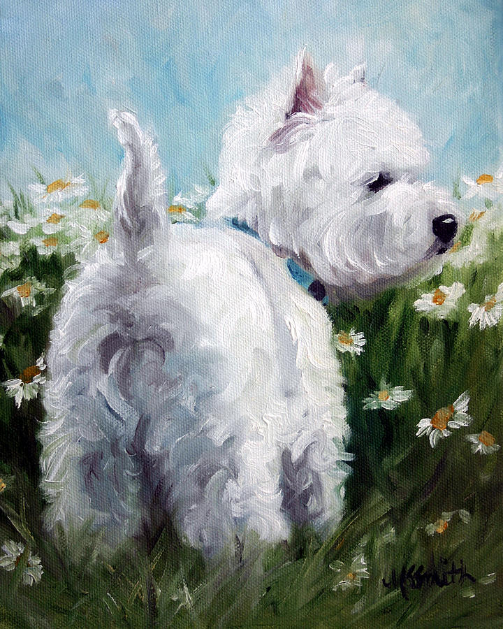 Westie Painting - Picking Daisies by Mary Sparrow