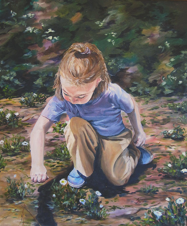 Toddler Painting - Picking Flowers by Theresa Higby