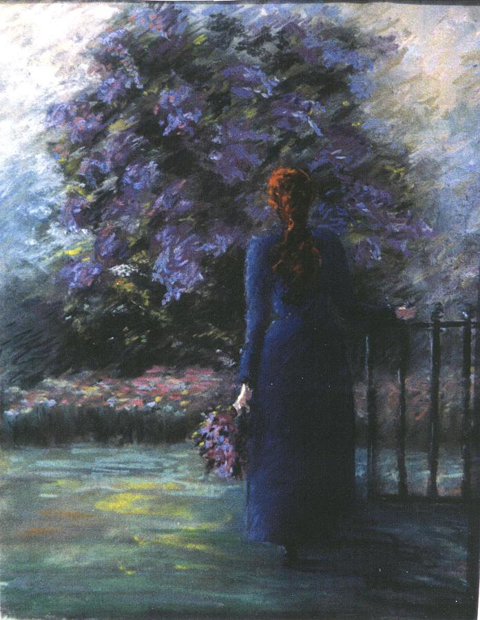 Picking Lilacs Pastel by Pat Snook