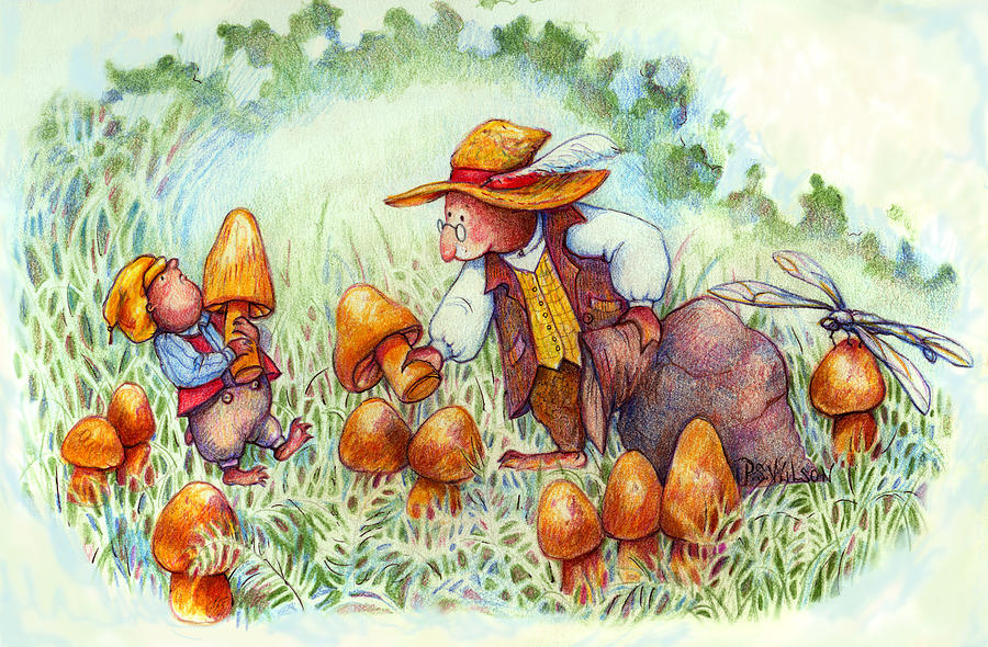 Moles Painting - Picking Mushrooms by Peggy Wilson