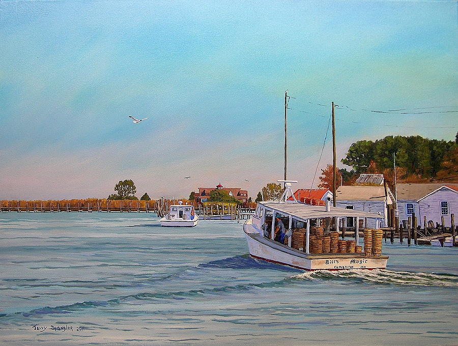 Tangier Island Painting - Picking Up Crab by Jerry Spangler