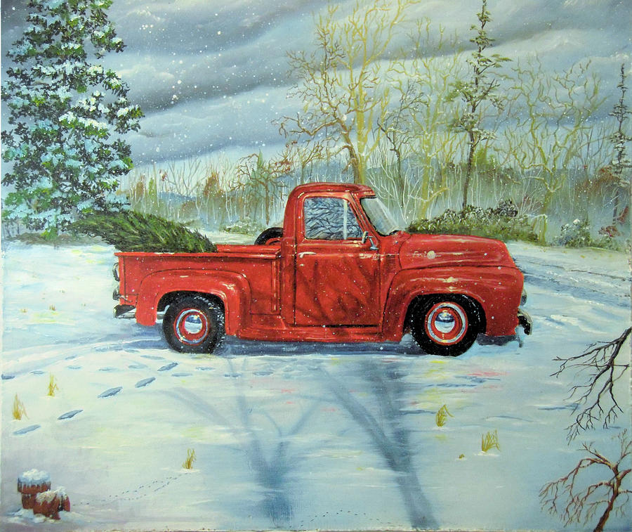 Picking Up The Christmas Tree Painting by Nicole Angell