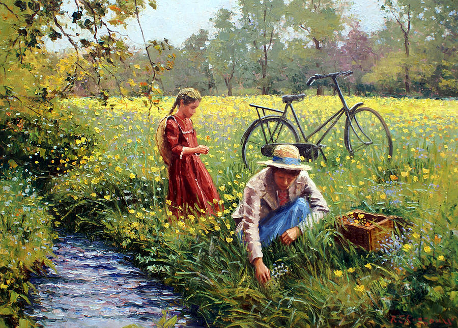 Little Girl Painting - Picking Yellow Flowers by Roelof Rossouw