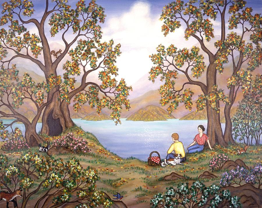 Landscapes Painting - Picnic By A Lake by Linda Mears
