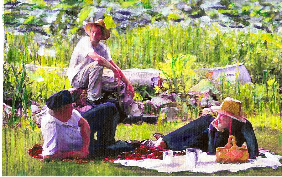 Lake Painting - Picnic By The Lake by Randy Sprout
