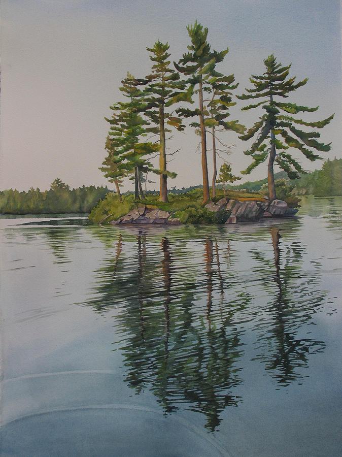 Lake Painting - Picnic Island At Dawn by Debbie Homewood