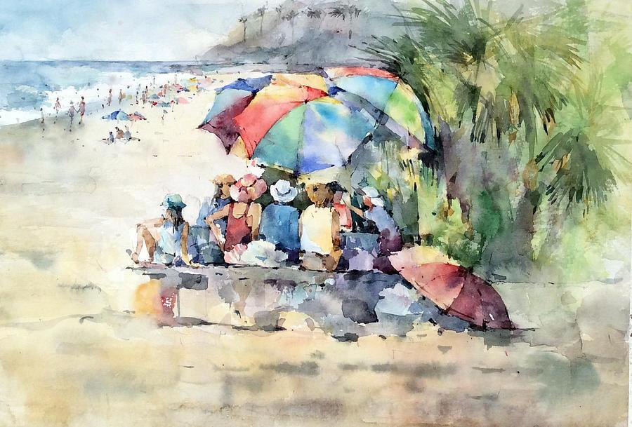Ocean Painting - Picnic - Laguna Beach - California by Natalia Eremeyeva Duarte