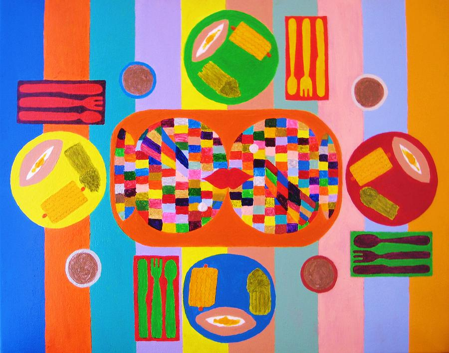 Fish Painting - Picnic Number One by Ricky Gagnon