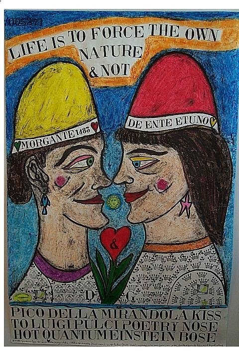 Pico Della Mirandola Kiss To Luigi Pulci Poetry Nose Hot Quantum Einstein Bose Pastel by Francesco Martin