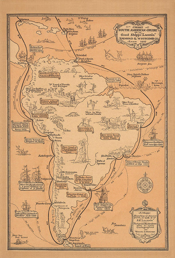 Pictorial Map Of South America - South American Cruise - Antique Illustrated Map, 1927 Drawing