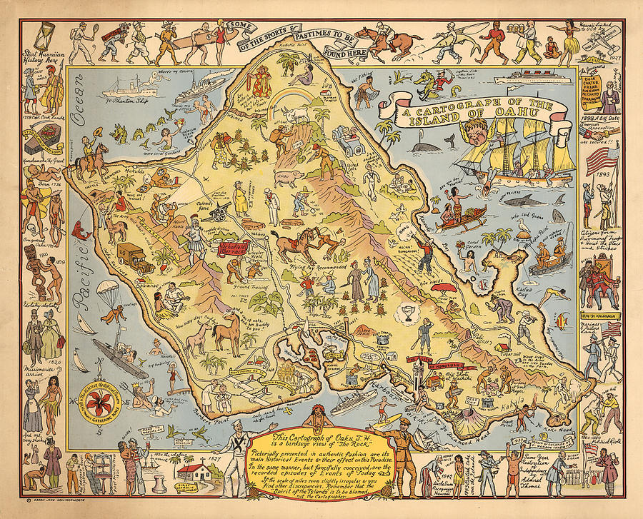Pictorial Map Of The Island Of Oahu - Illustrated Historical Map - on tahiti map pacific, world war ii pacific, world map pacific, garbage island pacific, silestone pacific, war in pacific,