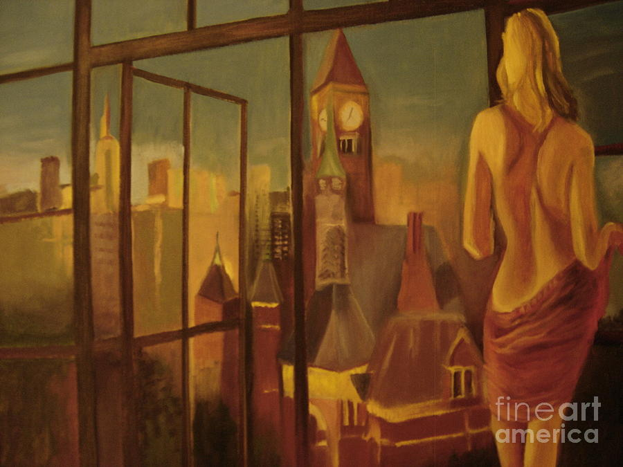 Nude Women Painting - Picture From Window Of N Y .  by Pierre  Bibeau