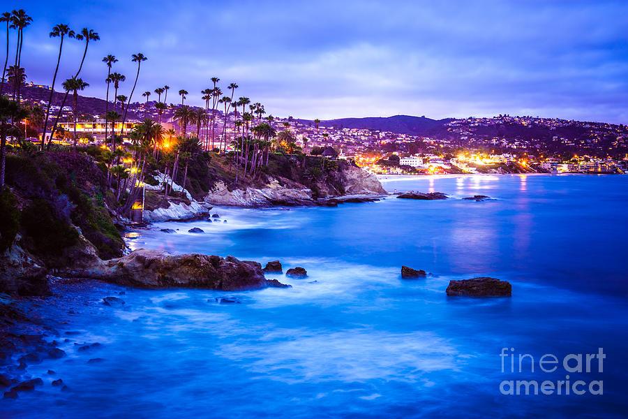 America Photograph - Picture of Laguna Beach California City at Night by Paul Velgos