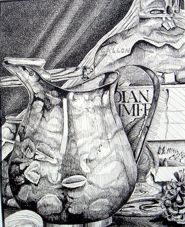 Still Life Drawing - Picture Of Pitcher by Linda Shackelford
