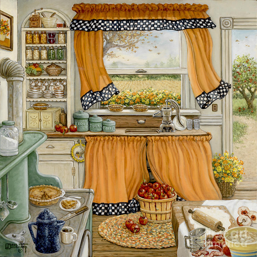 Pie Baking Day Painting By Janet Kruskamp