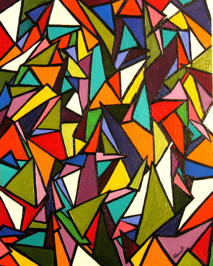 Triangles Painting - Pieces by Kerry Bennett