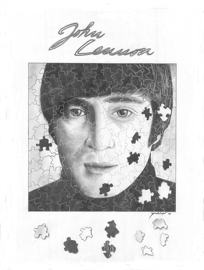 Music Artist Drawing - Pieces Of John Lennon by Julian  B