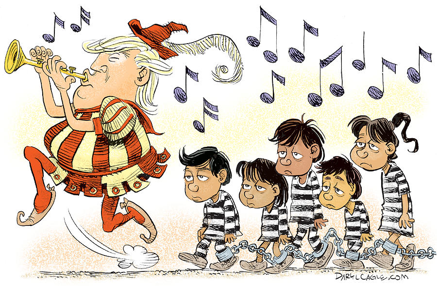 President Donald Trump Drawing - Pied Piper Trump And Infestation by Daryl Cagle