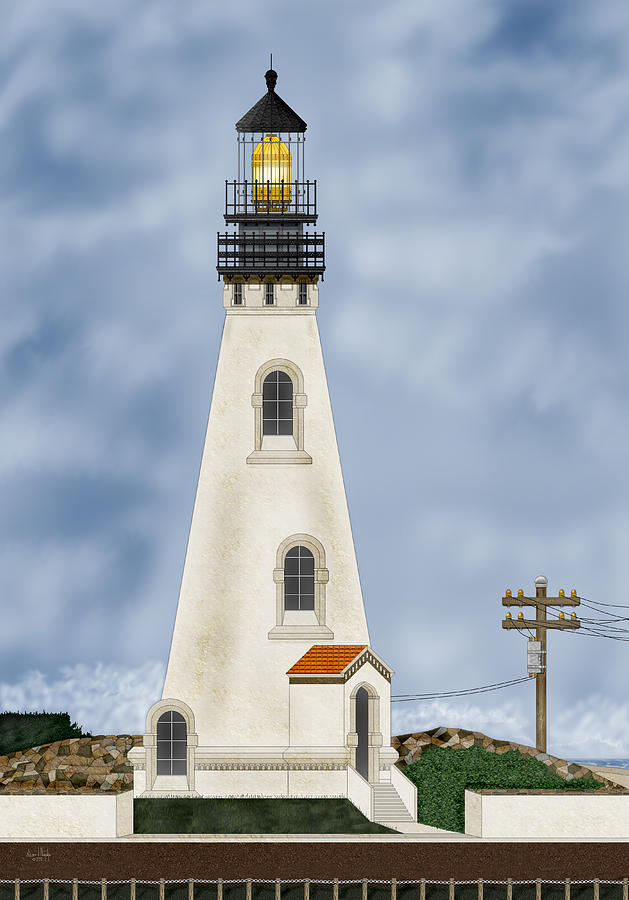 Lighthouse Painting - Piedras Blancas Lighthouse In California by Anne Norskog