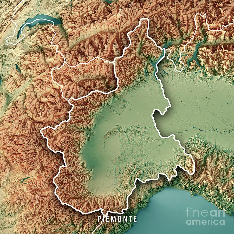 Topographic Map Italy.Piemonte State Italy 3d Render Topographic Map Border Digital Art By