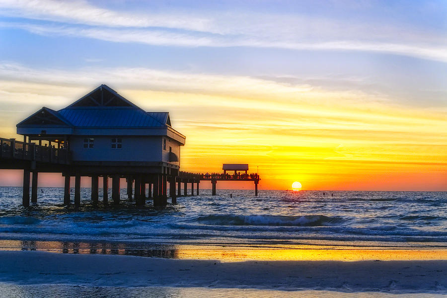 Beach  - Pier  At Sunset Clearwater Beach Florida by George Oze