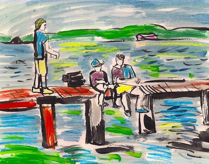 Pier Boys. Painting by Samuel Zylstra