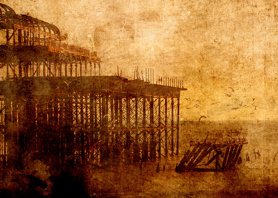 Sepia Digital Art - Pier into the Depths by Sarah Vernon