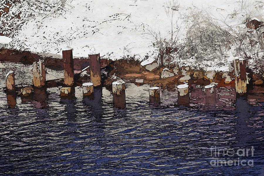 River Digital Art - Pier Piles by David Blank