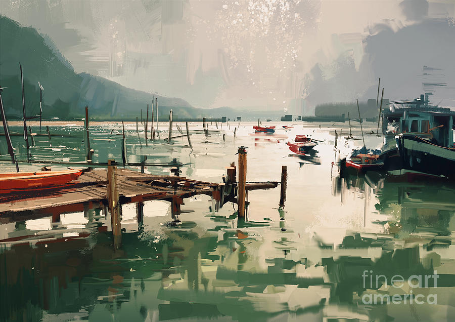 Artistic Painting - Pier by Tithi Luadthong