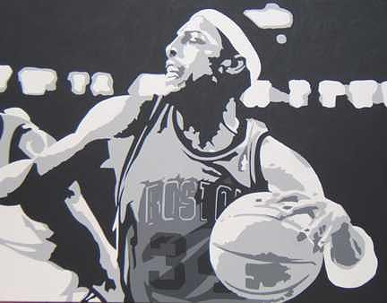 Basketball Painting - Pierce Commissioned Portrait by Michael James  Toomy