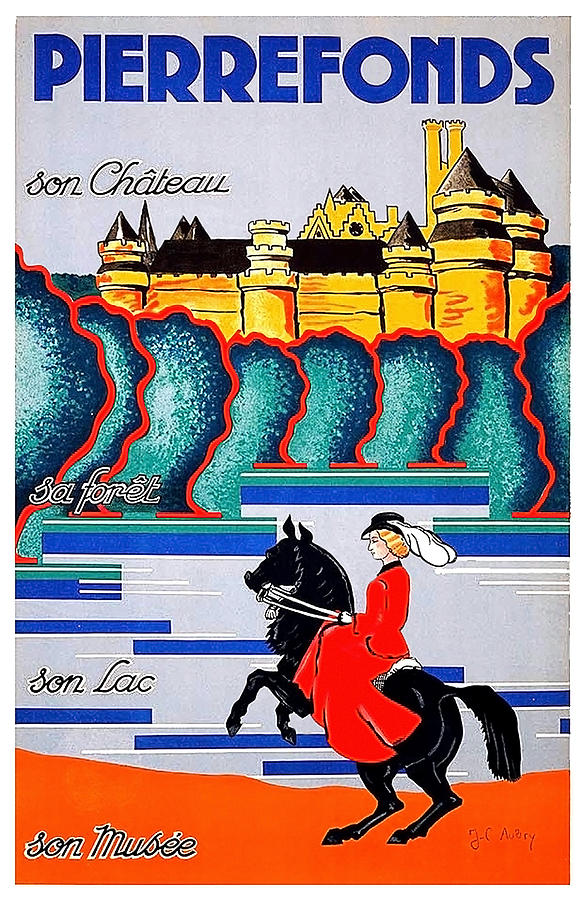 Chateau Painting - Pierrefonds Castle, Woman On Horse, France by Long Shot