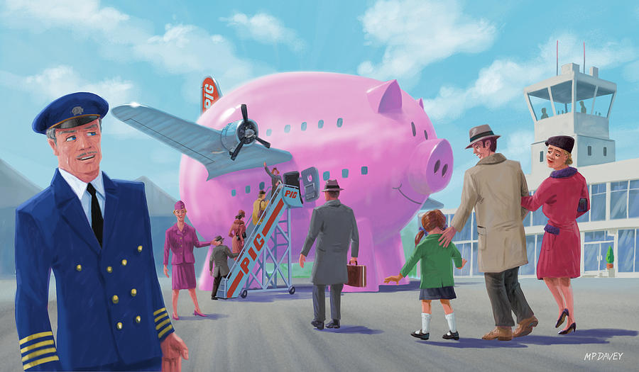 Flying Digital Art - Pig Airline Airport by Martin Davey