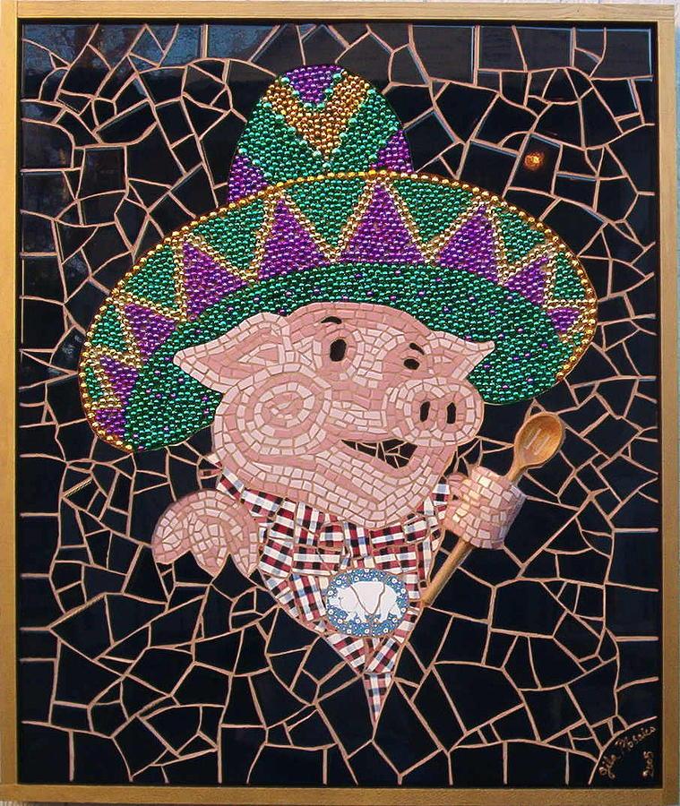Mosaic Mixed Media - Pig In Sombrero by Gila Rayberg