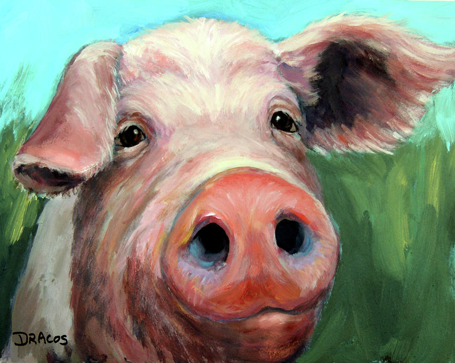 Pig On Blue And Green Painting By Dottie Dracos