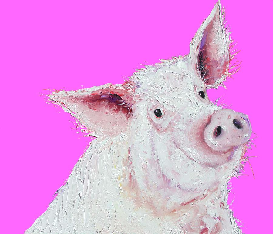 pig painting on hot pink by Jan Matson