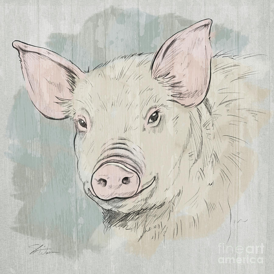 Pig Portrait-Farm Animals by Shari Warren