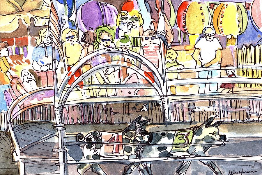Pig Painting - Pig Races by Mindy Newman