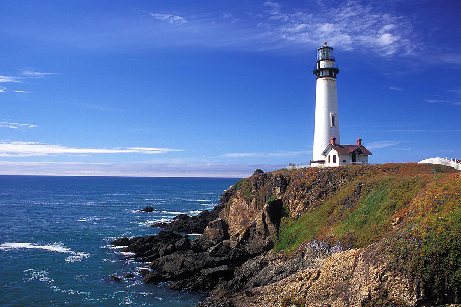 Lighthouses Photograph - Pigeon Point Lighthouse 2 by Kathy Yates