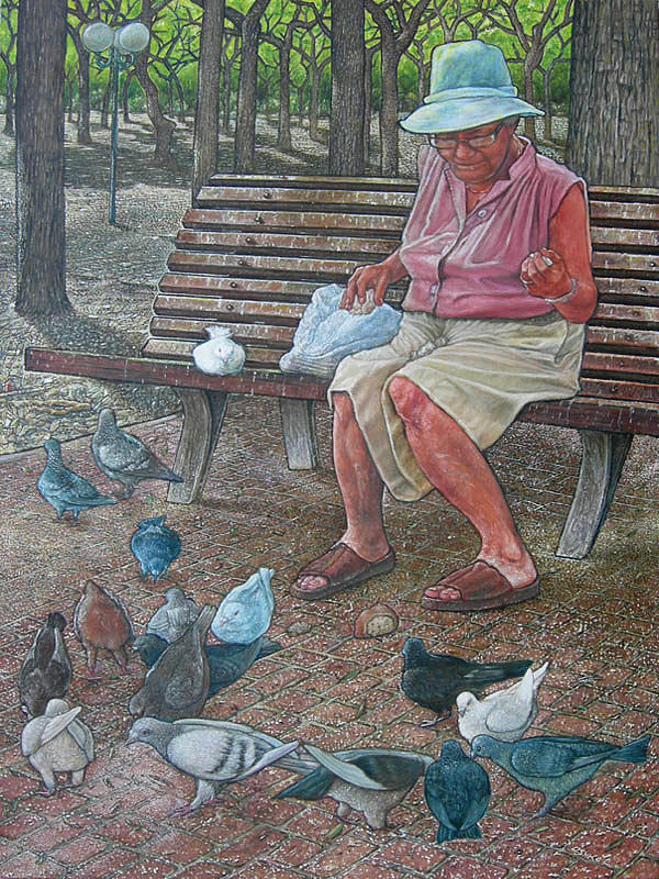 Pigeons Painting - Pigeons Feeder by Giora Eshkol