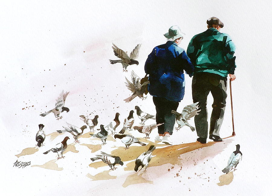 Pigeons n Pals Painting by Art Scholz