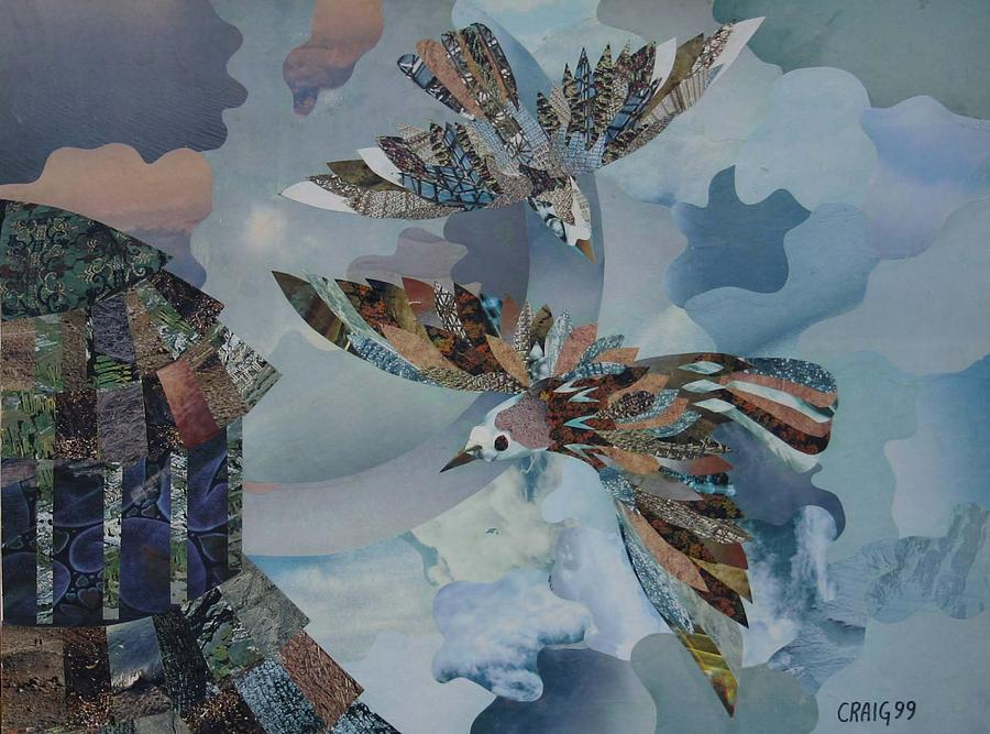 Birds Mixed Media - Pigeons On The Roof by Bob Craig
