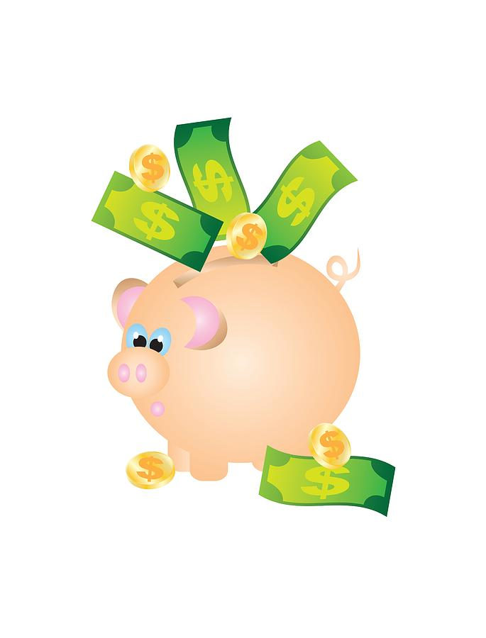 Piggy Bank with Bills and Coins Illustration by Jit Lim