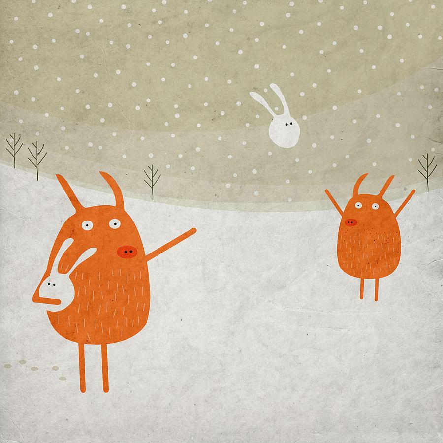 Pig Digital Art - Pigs And Bunnies by Fuzzorama