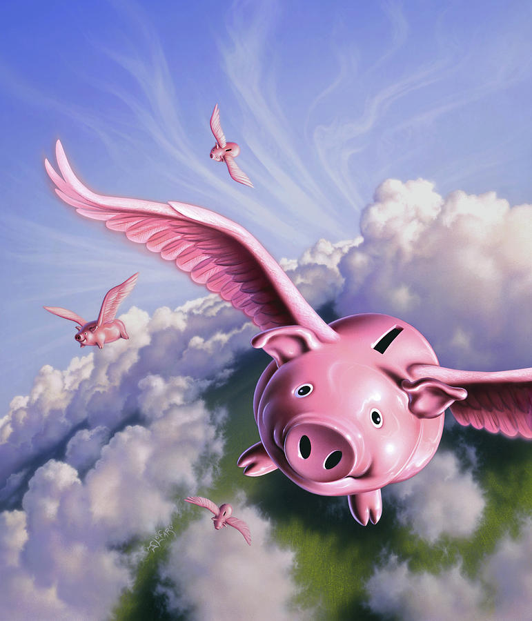 Pigs Painting - Pigs Away by Jerry LoFaro