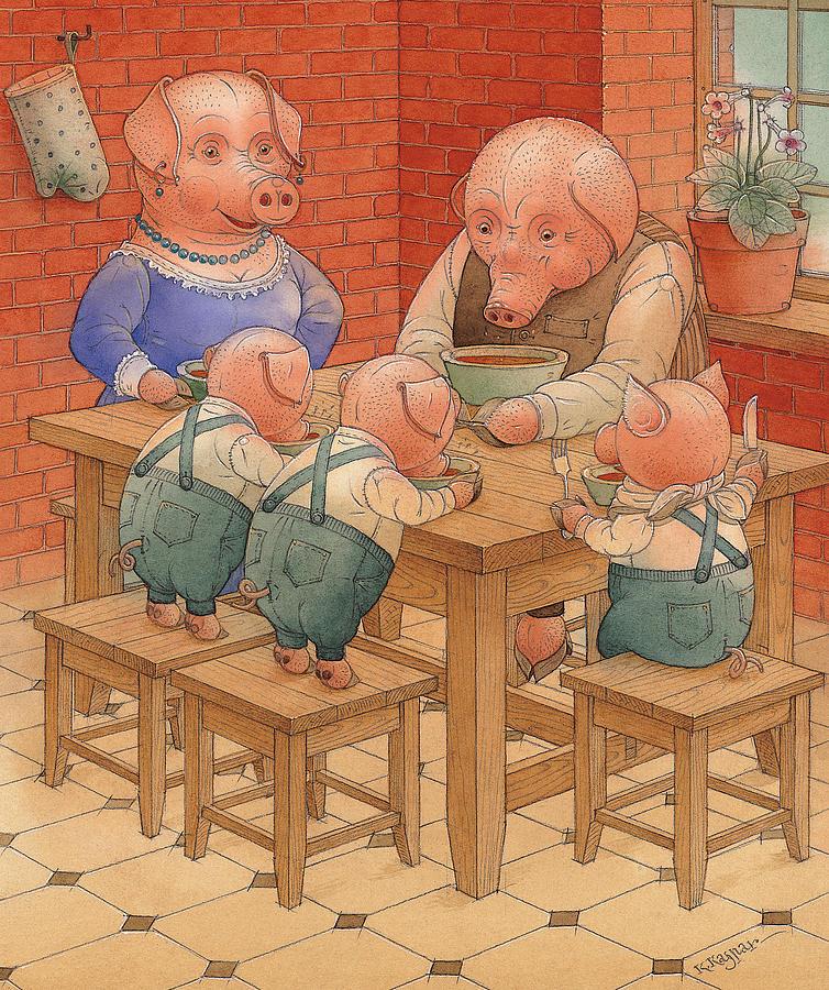 Animals Pig Kitchen Food Family Painting - Pigs by Kestutis Kasparavicius